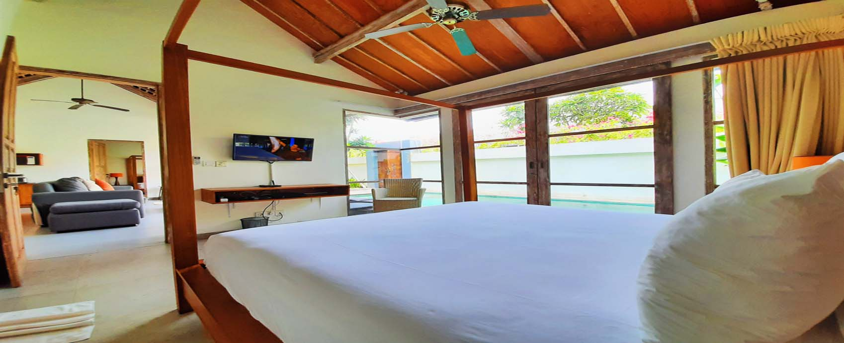 Bedroom of The Decks Bali Villa for rent